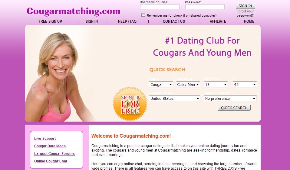 Cougar dating sites free